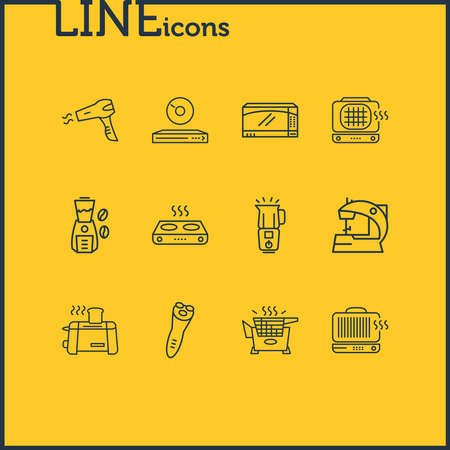 Vector illustration of 12 appliance icons line style. Editable set of electric razor, electric sewing machine, blender and other icon elements.