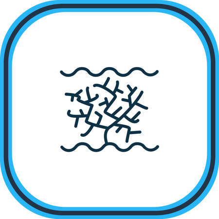 Vector illustration of coral icon line. Beautiful nautical element also can be used as algae icon element.