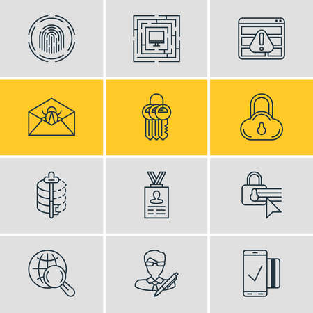 Vector illustration of 12 privacy icons line style. Editable set of cloud data protection, security settings, personal information and other icon elements.