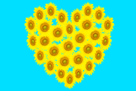 yellow heart: yellow heart on blue background for your design