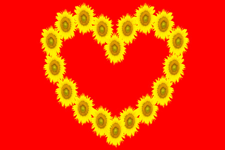 yellow heart: yellow heart on red background for your design
