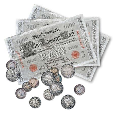 geld: Geld - Deutsche Mark - 1000 - Banknoten und M�nzen Stock Photo