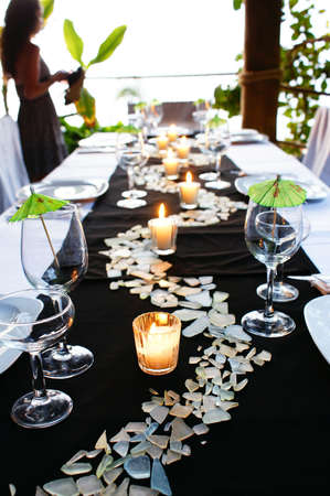 wedding table setting: Table Display Stock Photo