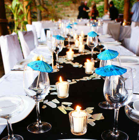 outdoor event: Blue Table Setting Stock Photo