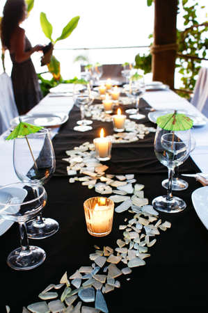 outdoor event: Green Table setting Stock Photo