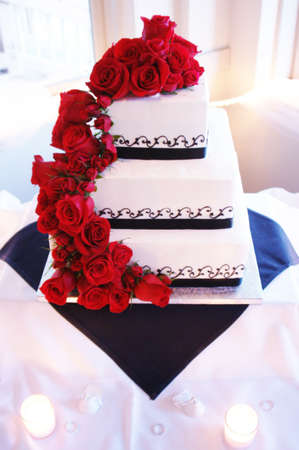 wedding table setting: Wedding Cake Stock Photo