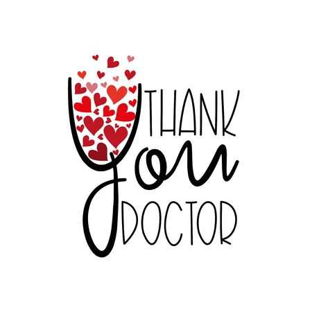 Thank you doctor - text with hearts.