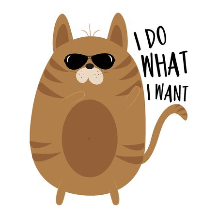 I do what I want- funny text with cute cat. Good for t shirt, childhood print, poster, banner, textile print, and gift design.