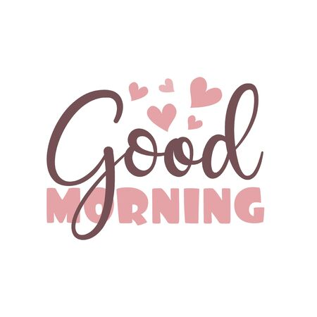 Good Morning calligraphy text with hearts. Good for greeting card, poster, banner, textile print, and gift design. Vector Illustratie