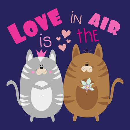 Love is in the air- text with cute cats. Good for greeting card, poster, banner, textile print, and gift design.