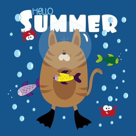 Hello Summer text- with funny cat and fishes, and cute crabs, in the sea. Good for cover, card, poster, banner, textile print, and gift design.