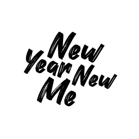 New Year New Me- positive saying chalk drawn text. Good for greeting card and t-shirt print, flyer, poster design, mug.