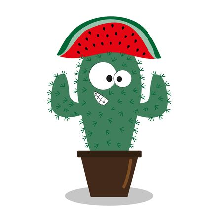 Cute cactus with watermelon hat. Hand drawn vector illustration. Good for T shirt print, poster, postcard, textile print and gift design.