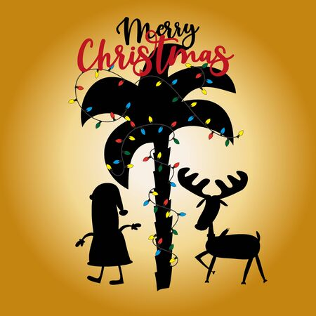 Merry Christmas text, with palm tree and Santa Claus, Reindeer silhouette, on gold background. Good for greeting card and t-shirt print, flyer, poster design, mug.