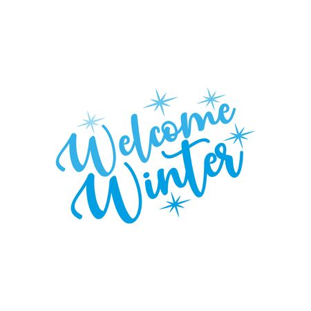 Welcome Winter-calligraphy and snowflakes. Good for greeting card and t-shirt print, flyer, poster design, mug. Banco de Imagens - 150098329