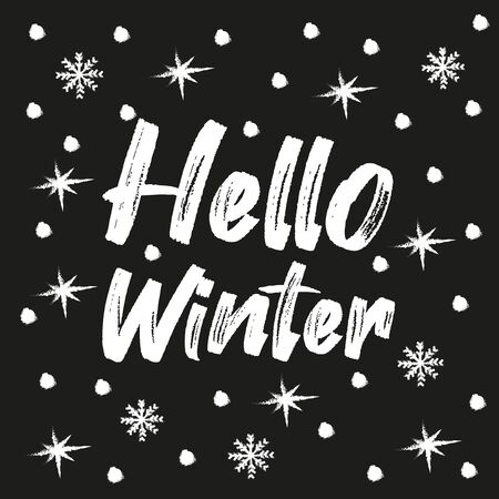 Hello Winter- Chalk drawn text and snowflakes, on black backgound. Good for greeting card and t-shirt print, flyer, poster design, mug. Banco de Imagens - 150098523