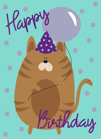 Happy Birthday text with cute cat. Good for greeting card, poster, banner, textile print and gift design.