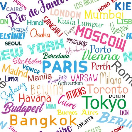 Cities of the world- colorful text seamless pattern texture. Perfect for textile, wallpaper, wrapping paper, book cover vector design. Stock fotó - 149840472
