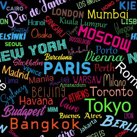 Cities of the world- colorful text seamless pattern texture. Perfect for textile, wallpaper, wrapping paper, book cover vector design. Archivio Fotografico - 149972193