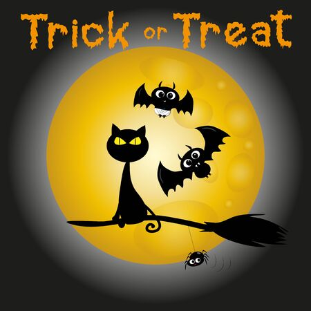 Trick or treat halloween text, with cute bats and flying broom on cat, and little spider, on moonlight backgound. Good for posters, greeting cards, textiles, gifts.