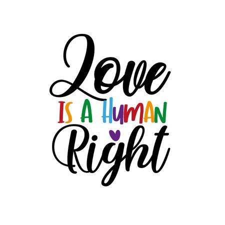 Love is a human right - LGBT pride slogan against homosexual discrimination. Modern calligraphy, with hearts. 向量圖像
