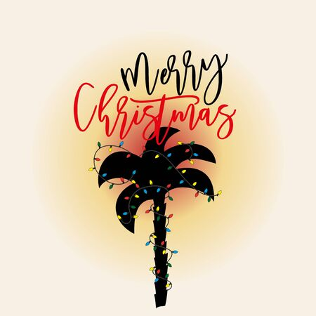 Merry Christmas text, with tropical palm silhouette in sunset. Good for greeting card, banner, cover, textile, t-shirt, postcard.