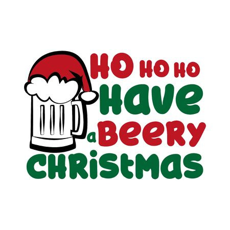 Ho ho ho have beery Christmas - funny text, with Santa's cap on beer mug. Good for posters, greeting cards, textiles, gifts. 向量圖像