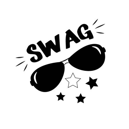 Swag- hand drawn text and sunglasses, fashionable poster, t-shirt graphics, greeting card.