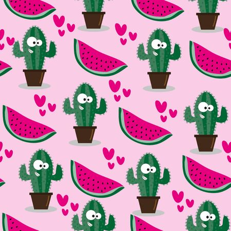 Cute cactus and Watermelon seamless pattern. Good for wrapping paper, wallpaper, textile print, and Summer backgound.