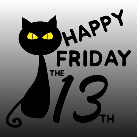 Happy Friday the 13th text, with black cat, on gray backgound.