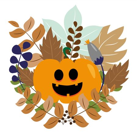 Autumn leaves and pumpkin collection and set. Illustration graphics vector. Good for greeting card, textile, home decor.