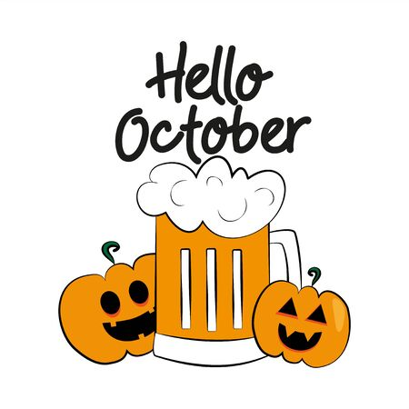 Hello October autumn or halloween text, with colorful beer mug and smiley face pumpkins.Good for card, poster, banner, textile print.