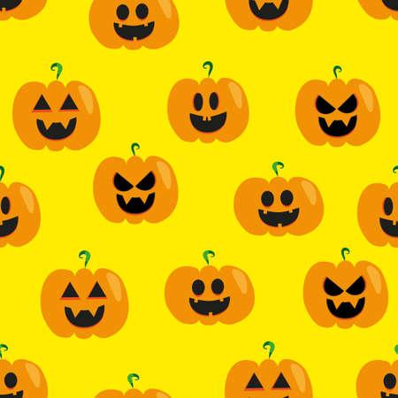 Pumpkin halloween face, seamless pattern. Illusztráció