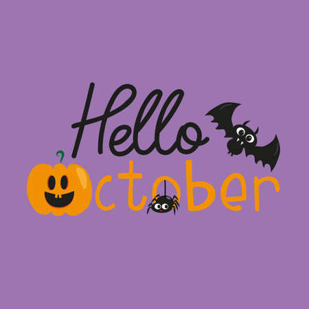 Hello October halloween text, with cute bats, pumpkin, and ghost, on purple color background. T-shirt graphics, posters, party concept, textile graphic, card.