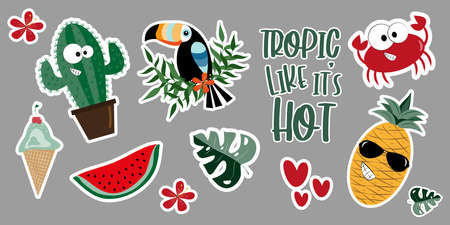 Summer sticker set- Cute cactus, crab, toucan, watermelon, pineapple, palm leaf, hibiscus, and hearts.