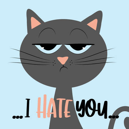 This Is My Happy Face- funny text with grimacing cat, and pawprints. Good for T shirt print, postcard, poster, photo album cover, and gift design.