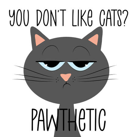 You don't like cats? Pawthetic - funny text with grimacing cat. Good for T shirt print, postcard, poster, photo album cover, and gift design.