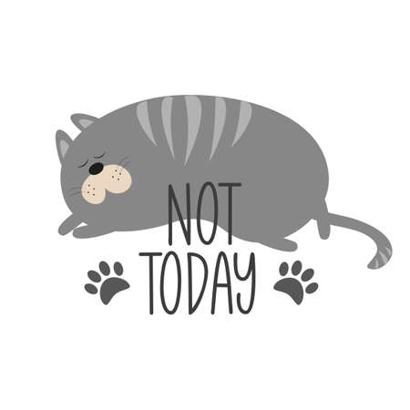 Not Today - text with cute sleeping cat with paw print. Good for T shirt card, poster, banner, textile print, and gift design.