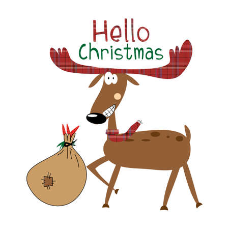 Hello Christmas text, with funny smiling reindeer, bag and carrots. Good for greeting card, t shirt print, poster, banner and gift design. Ilustracja