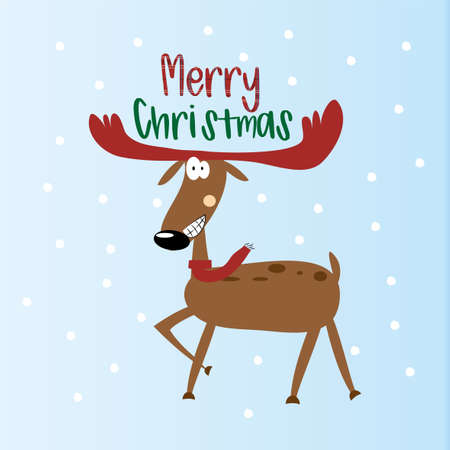 Merry Christmas text, funny reindeer on blue and snowy background. Ilustracja