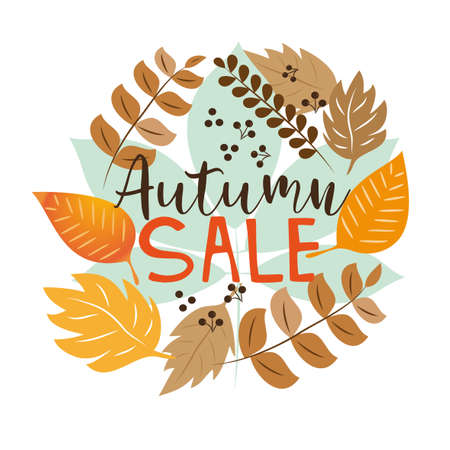 Autumn Sale vector illustration. Decorative autumn template, greeting card, sale banner, and flyer. Paper cut style. Fall season. Applicable for web banner.