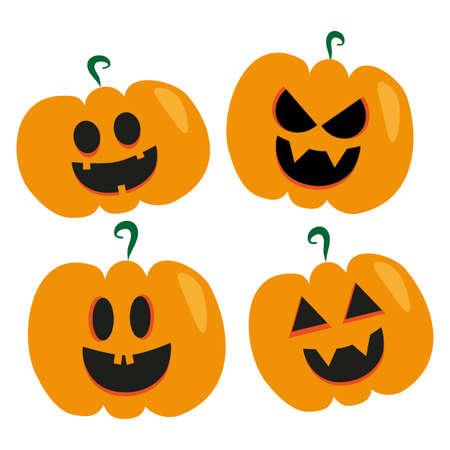 Set of Halloween scary pumpkins. Gift, flat, poster, greeting card style vector spooky and creepy pumpkins. Vektorgrafik