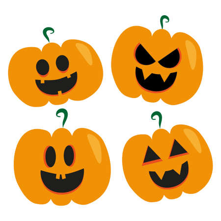 Set of Halloween scary pumpkins. Gift, flat, poster, greeting card style vector spooky and creepy pumpkins. Vektorové ilustrace