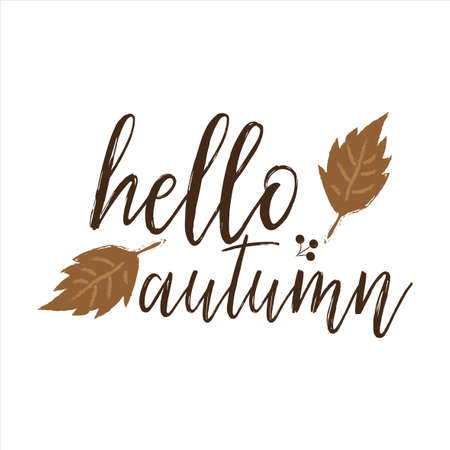 Hello autumn, hand brush lettering and typography design art. Good for greeting card and t-shirt print, flyer, poster design, mug.