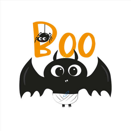 Boo halloween text, with cute blak bat, illustration graphic vector. Young and happy, t-shirt graphics, posters, party concept, textile graphic, card. Ilustracja