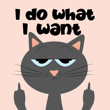 I do what I want- funny text with grimacing cat. Good for T shirt print, postcard, poster, photo album cover, and gift design.