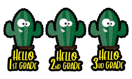Cute cactus School greeting set. Hello 1st grade, hello 2nd grade, hello 3rd grade. Good for t shirt print, label, sticker, greeting card.