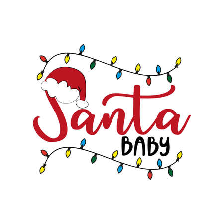 Santa Baby - Christmas text with Santa's cap. Good for greeting card and t-shirt print, baby clothes, flyer, poster and gift design.
