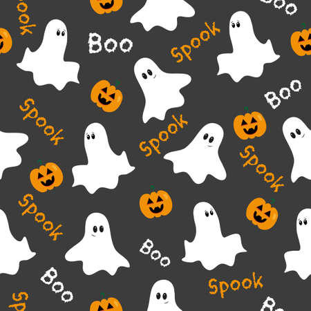 Halloween seamless pattern. Cute ghosts and pumpkins on a gray backround. Good for textile print, wrapping and wall paper, decoration.