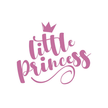 Little Princess - calligraphy with crown. Good for baby clothes, room decor, poster, greeting card, baby shower decoration, and gifts design. Ilustração